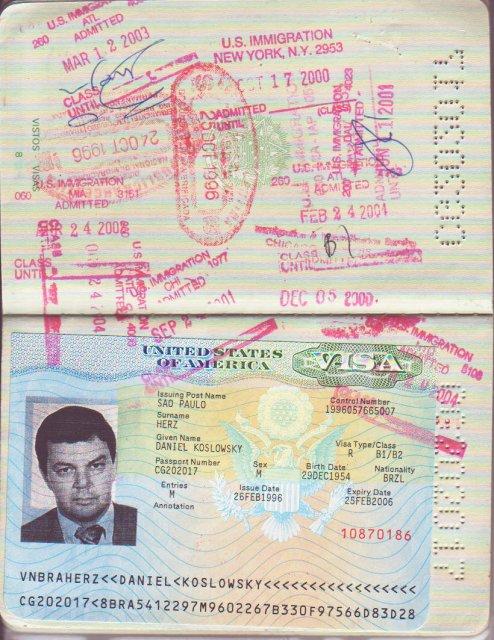 Passaporte com visto para os EUA (13/09/2005)